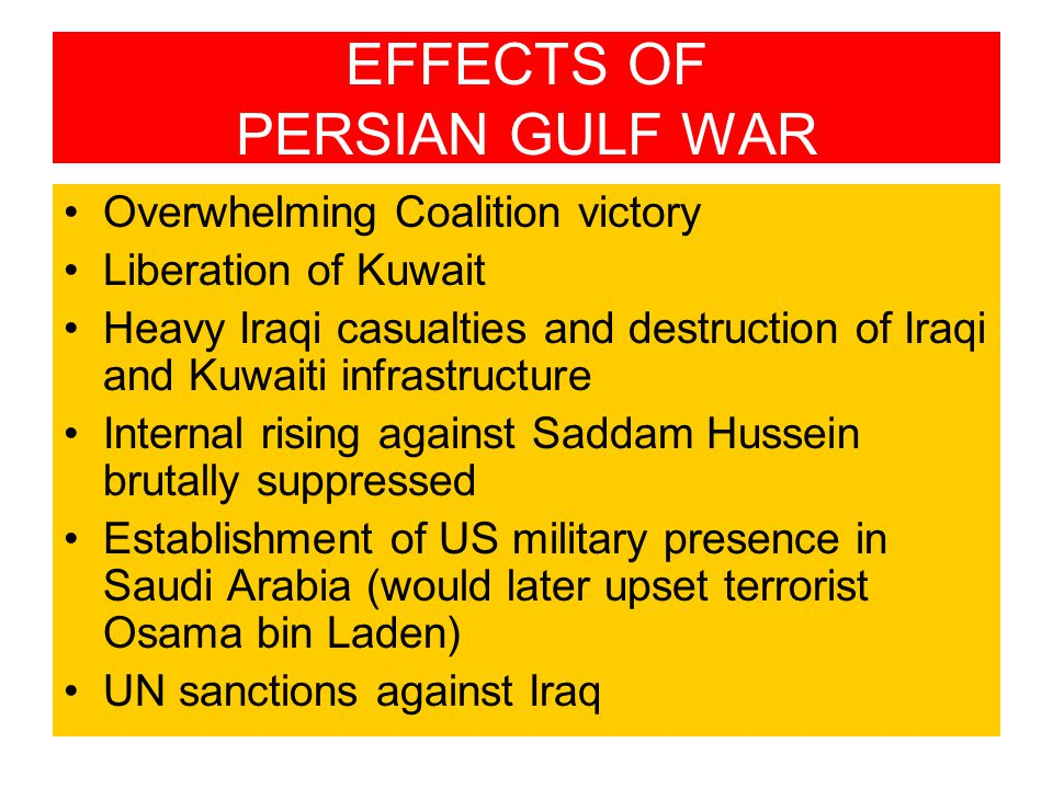 EFFECTS OF PERSIAN GULF WAR