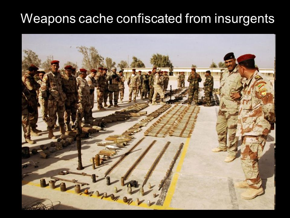 Weapons cache confiscated from insurgents