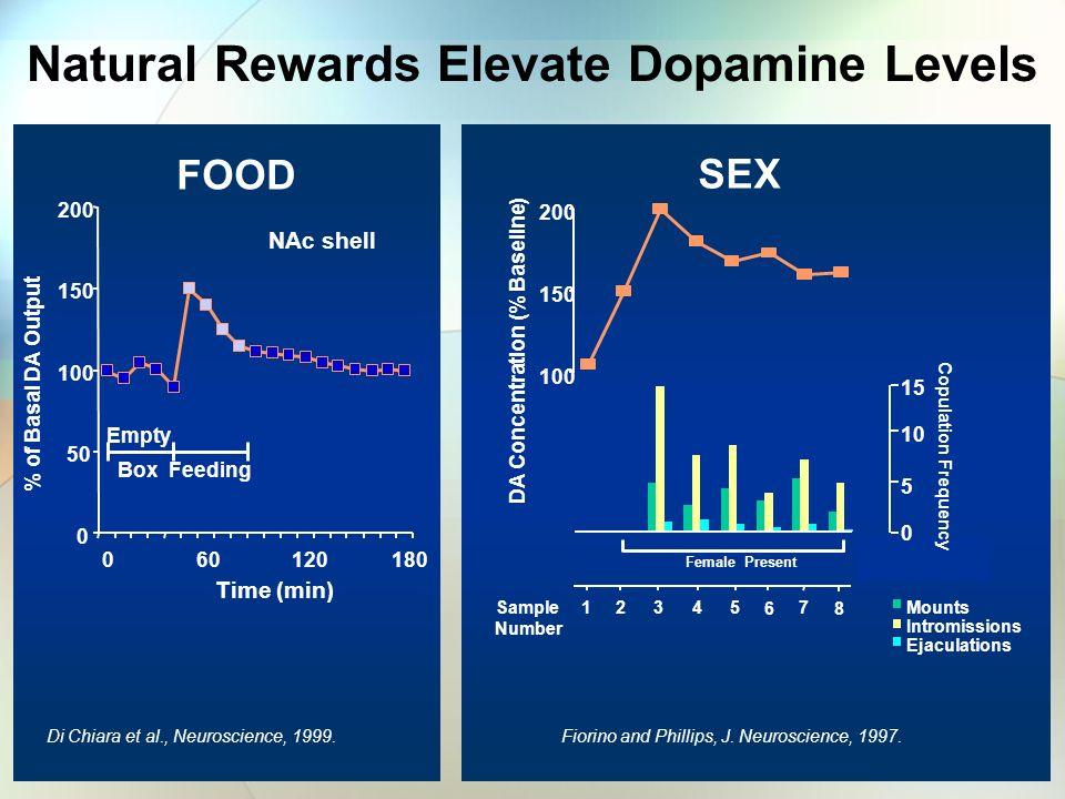 Natural Rewards Elevate Dopamine Levels DA Concentration (% Baseline)