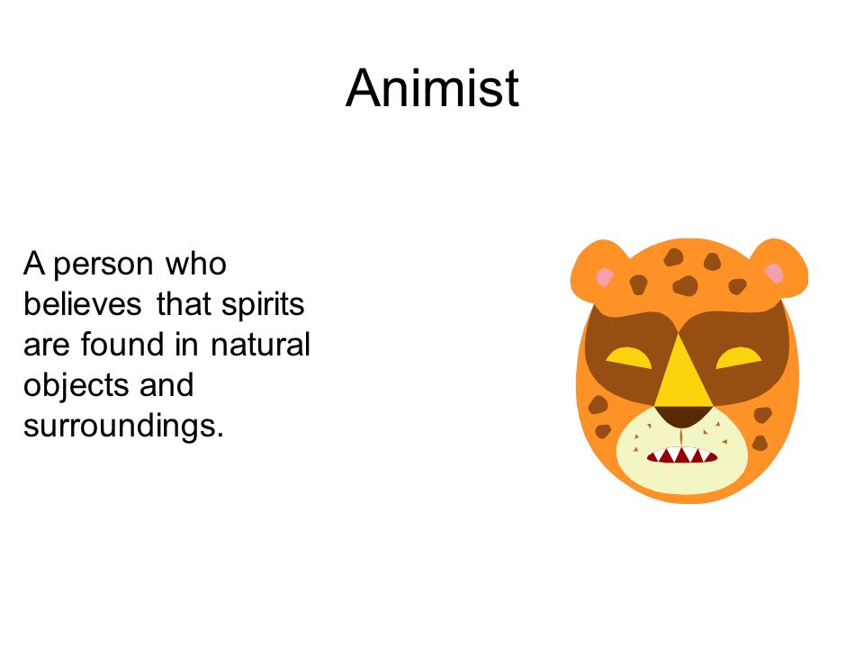 Animist A person who believes that spirits