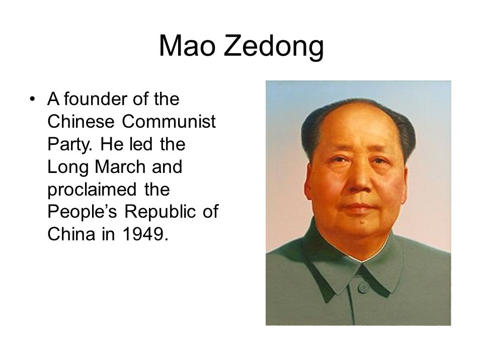 Mao Zedong A founder of the Chinese Communist Party.
