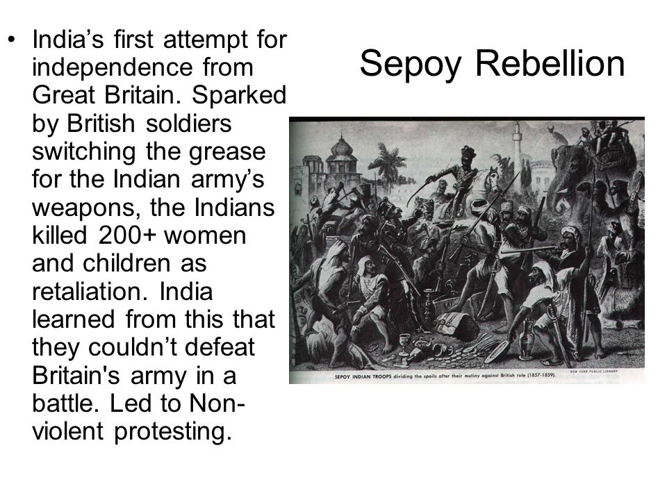 India's first attempt for independence from Great Britain
