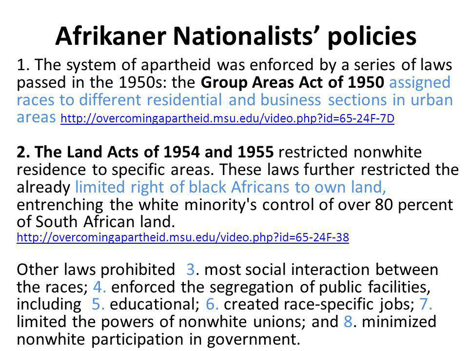 Afrikaner Nationalists' policies