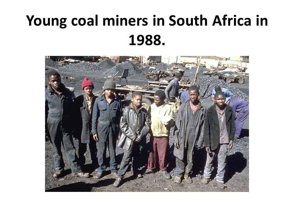 Young coal miners in South Africa in 1988.