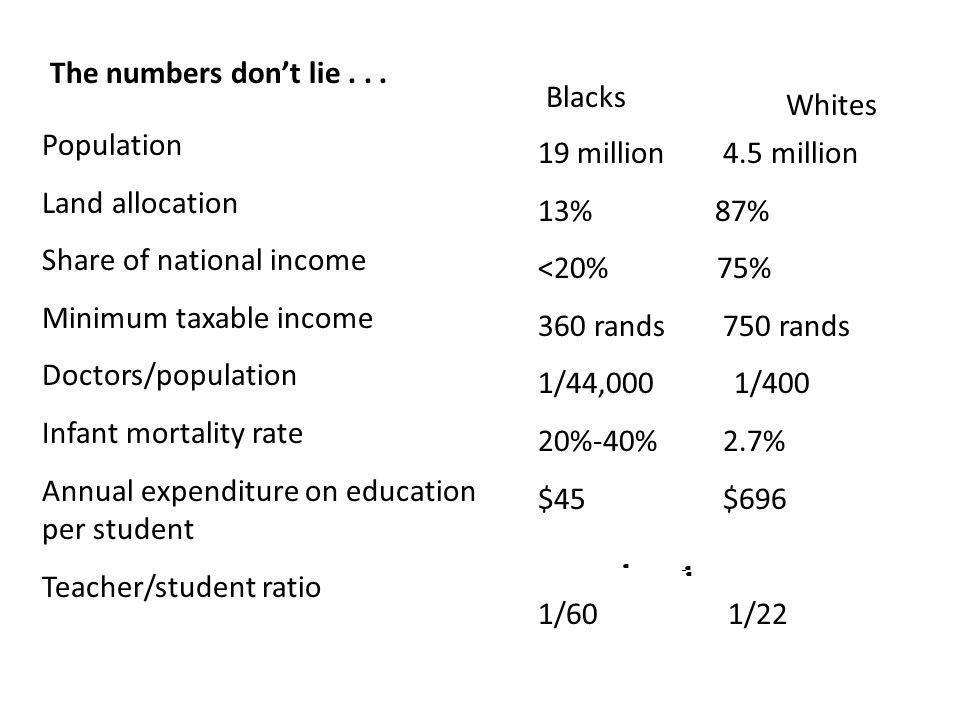 The numbers don't lie . . . Blacks. Whites. Population. Land allocation. Share of national income.