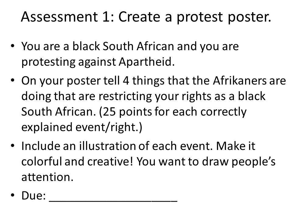 Assessment 1: Create a protest poster.