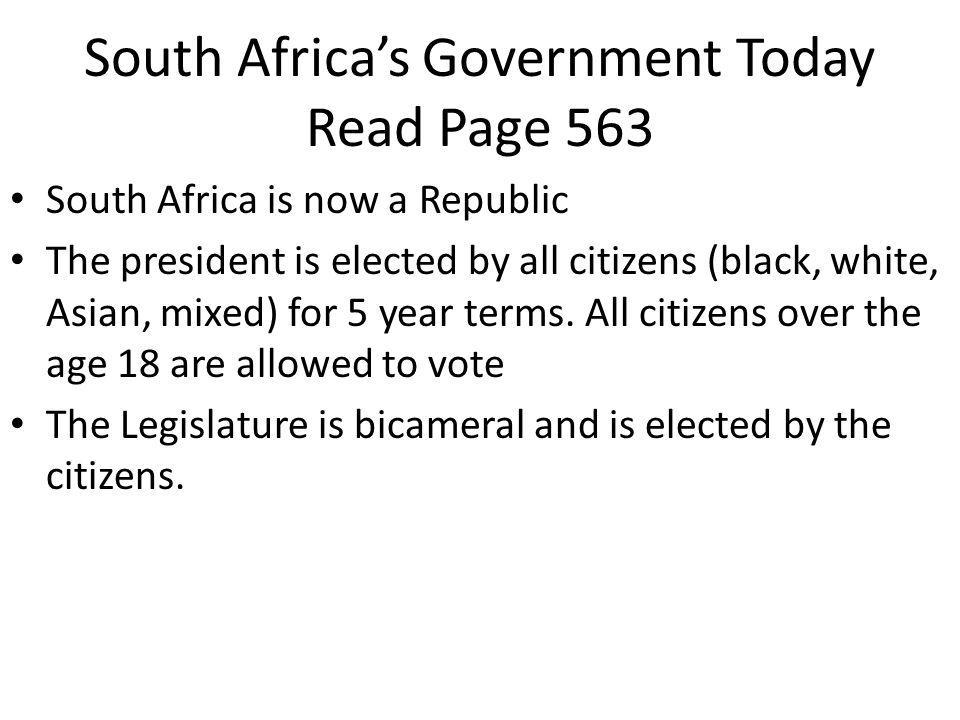 South Africa's Government Today Read Page 563