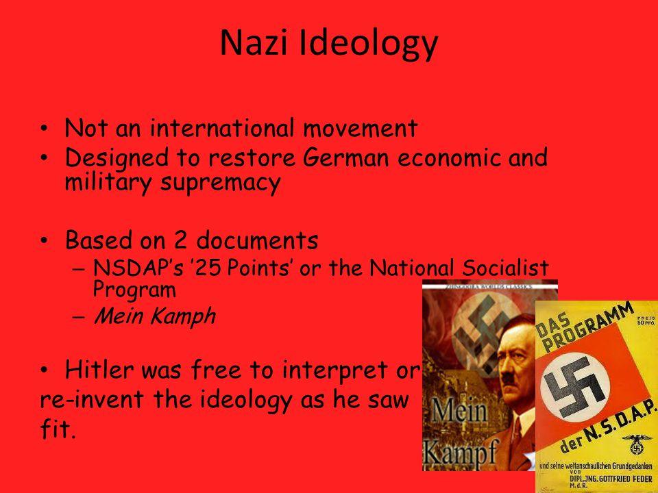 Nazi Ideology Not an international movement
