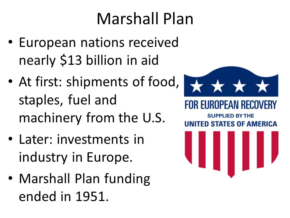 Marshall Plan European nations received nearly $13 billion in aid