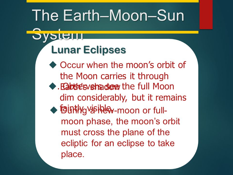 The Earth–Moon–Sun System