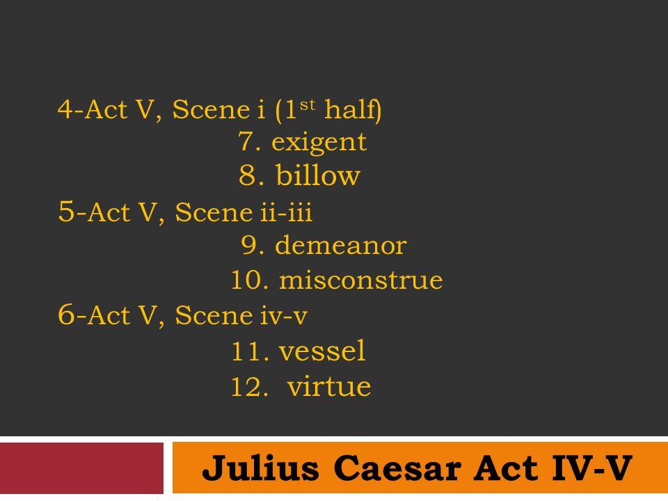 4-Act V, Scene i (1st half) 7. exigent 8
