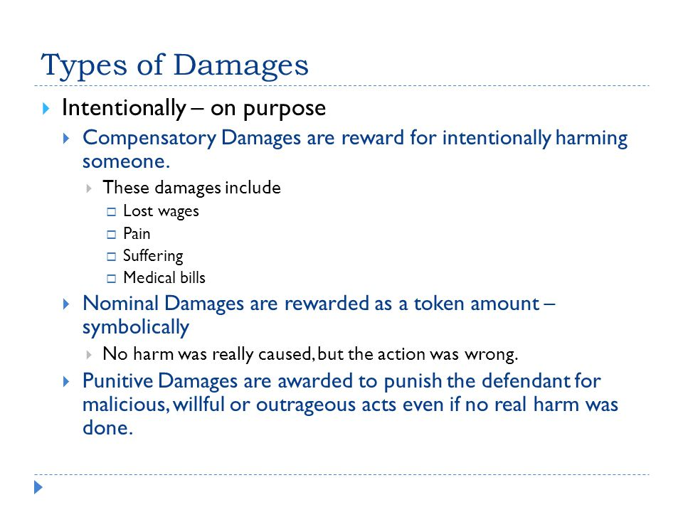 Types of Damages Intentionally – on purpose