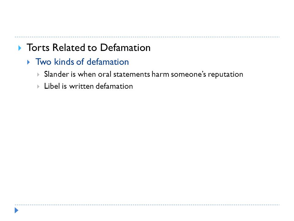 Torts Related to Defamation