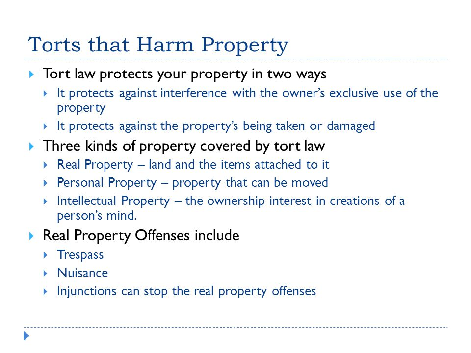 Torts that Harm Property