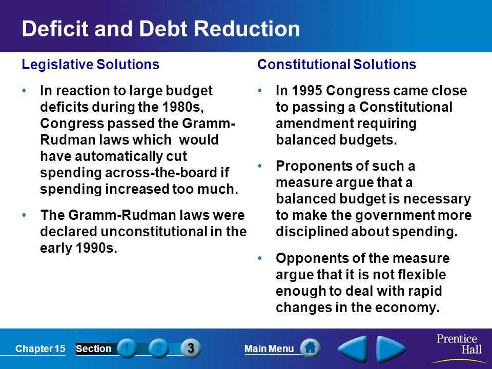 Deficit and Debt Reduction