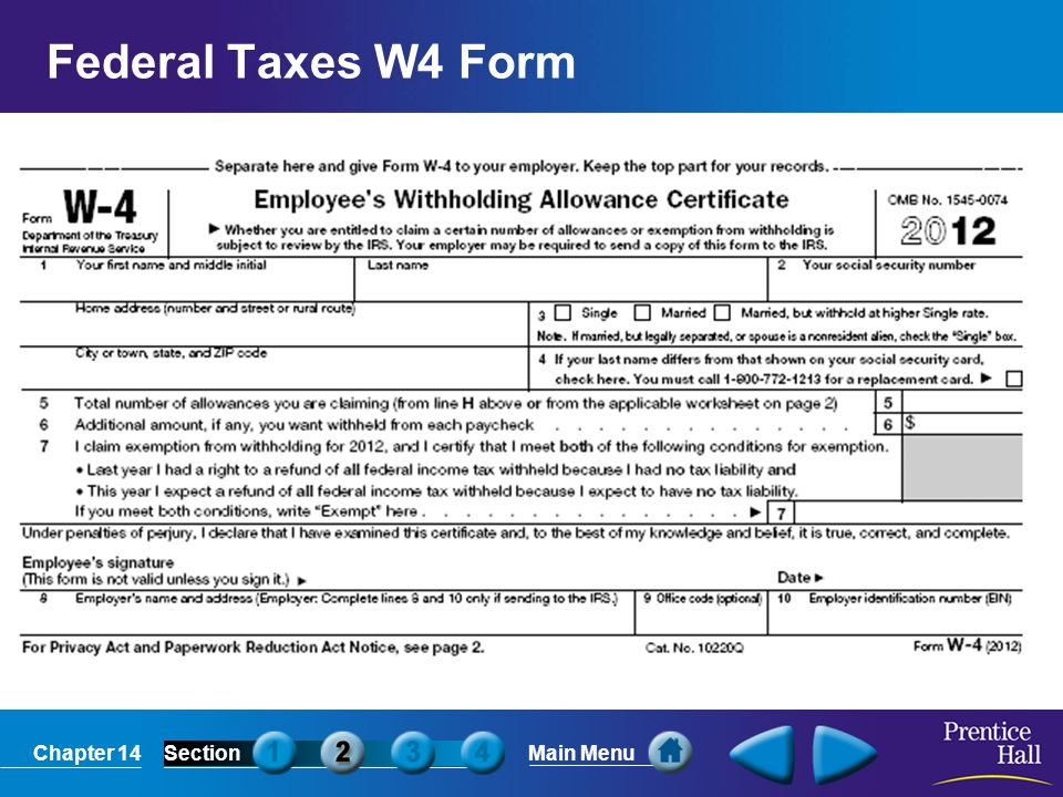 Federal Taxes W4 Form