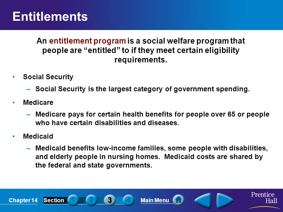 Entitlements An entitlement program is a social welfare program that people are entitled to if they meet certain eligibility requirements.