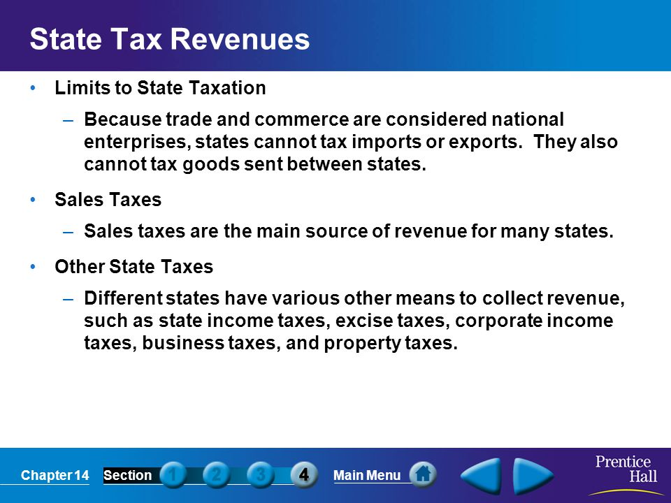 State Tax Revenues Limits to State Taxation