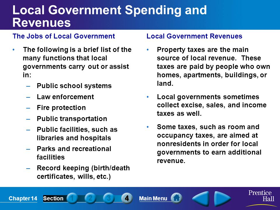 Local Government Spending and Revenues