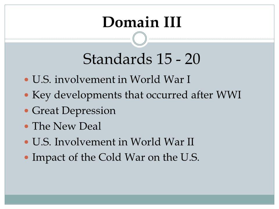 Domain III Standards 15 - 20 U.S. involvement in World War I