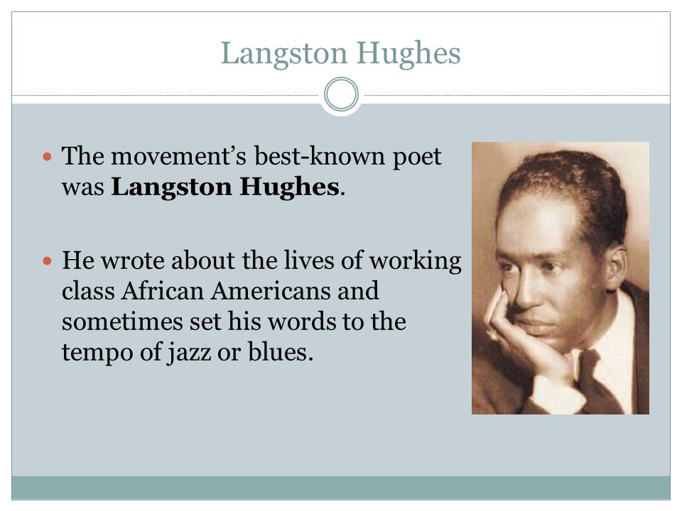 Langston Hughes The movement's best-known poet was Langston Hughes.