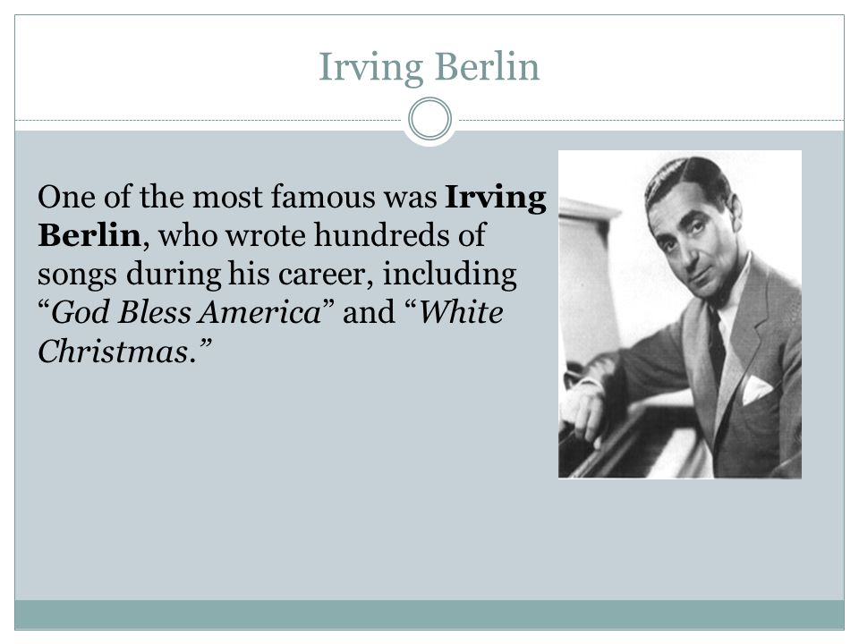 biography of irving berlin essay Composer report-irving berlin topics: irving berlin, god bless america, fred astaire pages: 3 (1002 words) published: september 17, 2013 irving berlin is one of the most famous american composers and lyricist, having effect on the american broadway, cinema, and music.