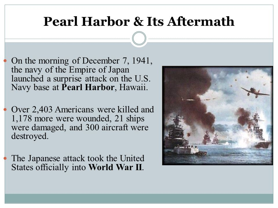 Pearl Harbor & Its Aftermath