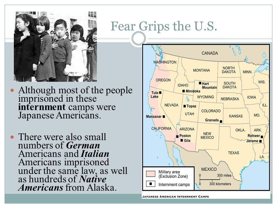 Fear Grips the U.S. Although most of the people imprisoned in these internment camps were Japanese Americans.