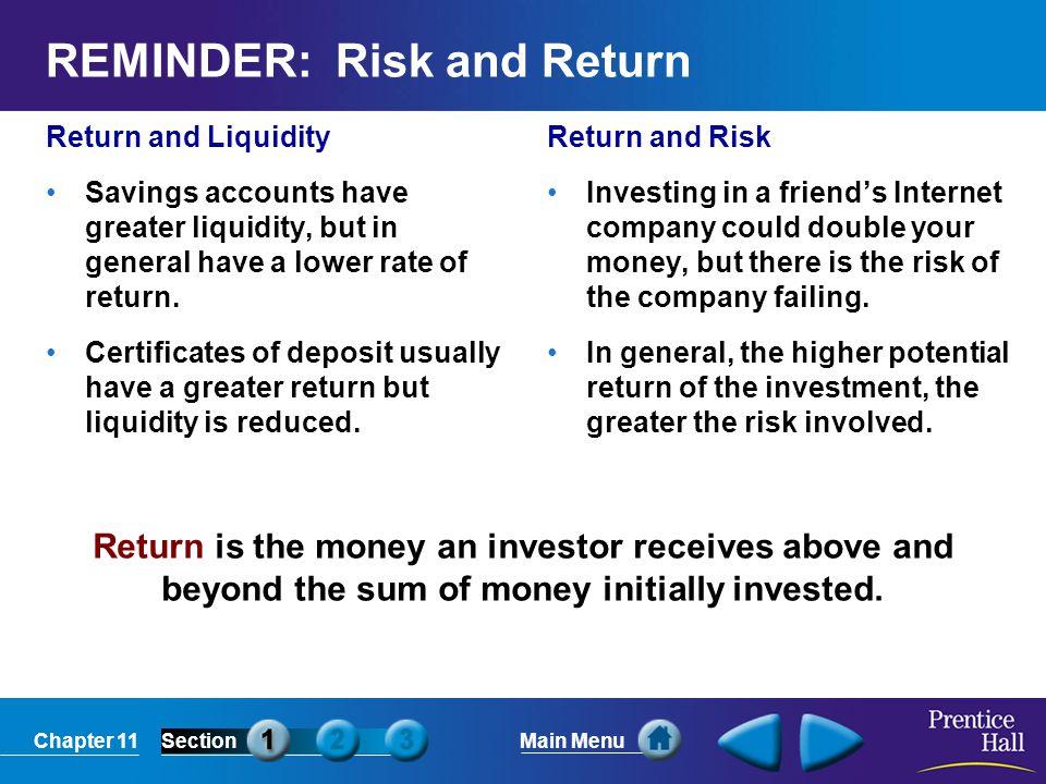 REMINDER: Risk and Return
