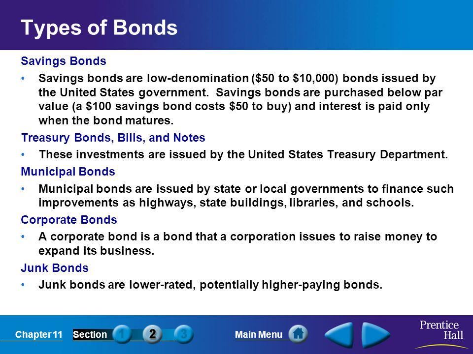 Types of Bonds Savings Bonds