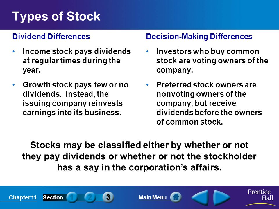 Types of Stock Dividend Differences. Income stock pays dividends at regular times during the year.