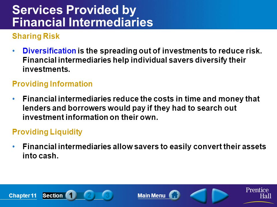 Services Provided by Financial Intermediaries