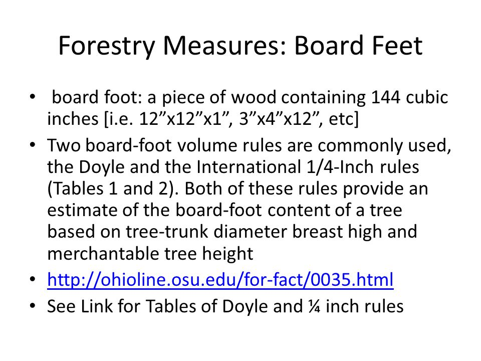 Forestry Measures: Board Feet