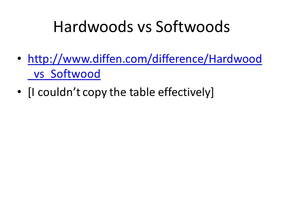 Hardwoods vs Softwoods