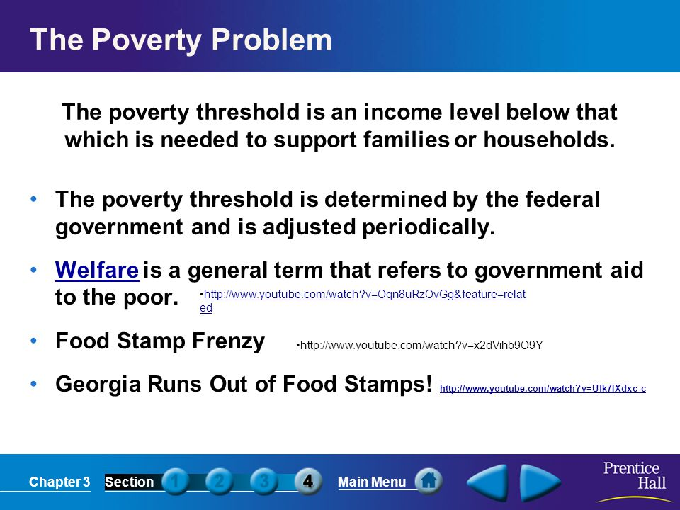The Poverty Problem The poverty threshold is an income level below that which is needed to support families or households.
