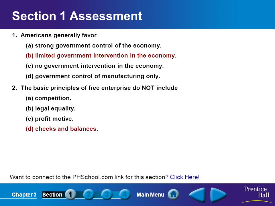 Section 1 Assessment 1. Americans generally favor