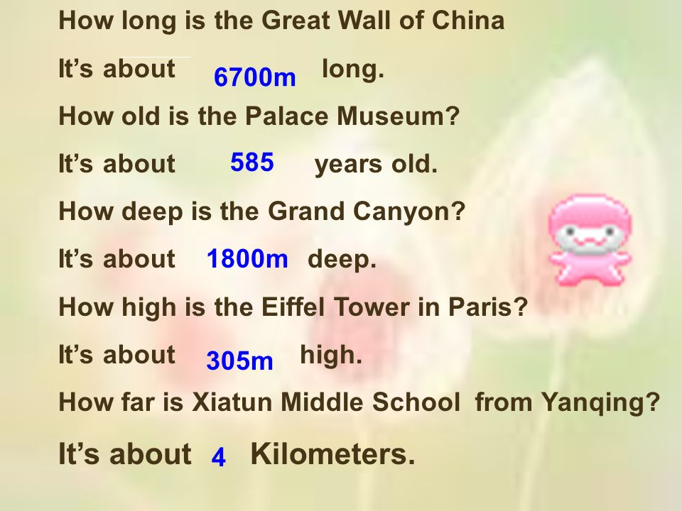 It's about Kilometers. How long is the Great Wall of China
