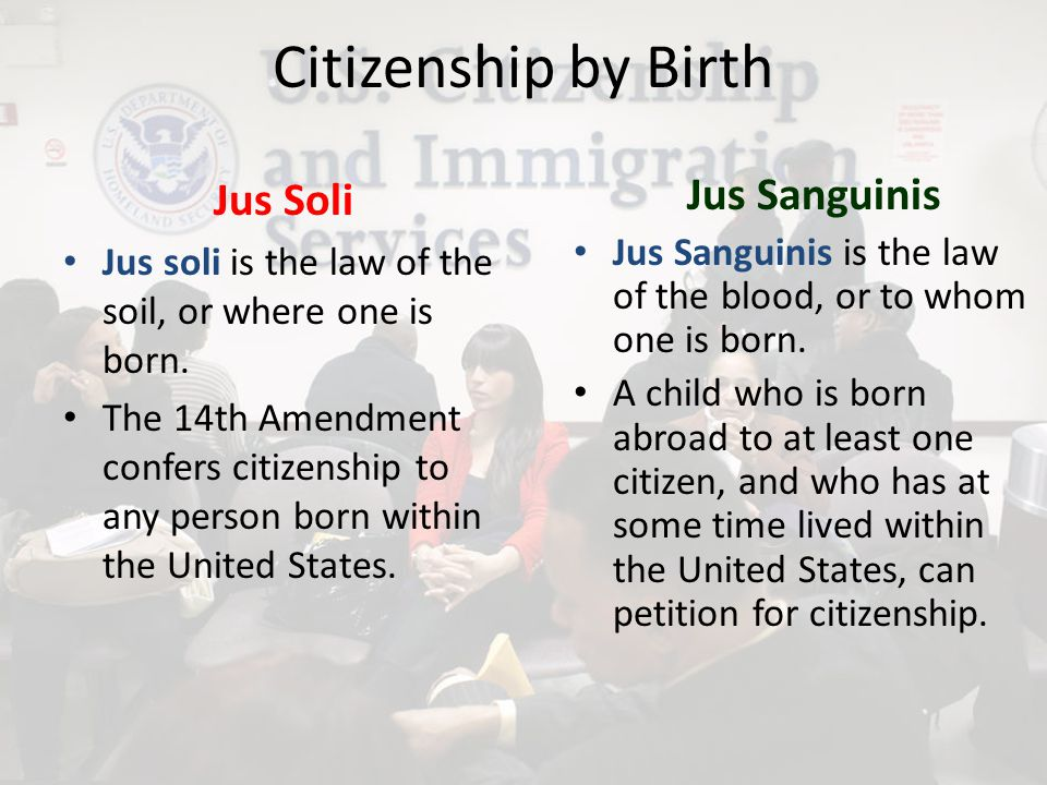 Citizenship by Birth Jus Soli Jus Sanguinis