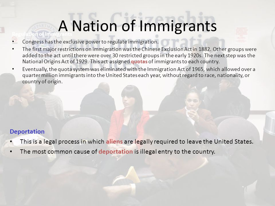 A Nation of Immigrants Deportation