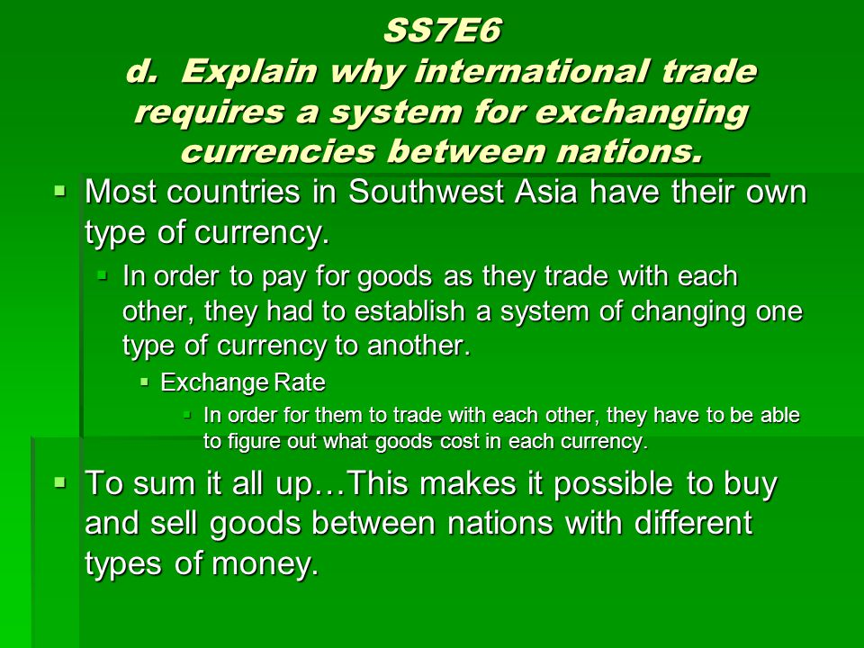 Most countries in Southwest Asia have their own type of currency.