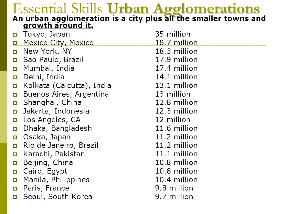 Essential Skills Urban Agglomerations