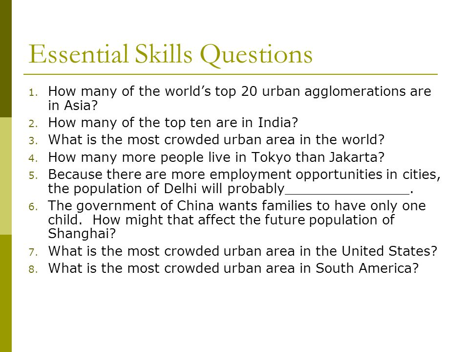 Essential Skills Questions
