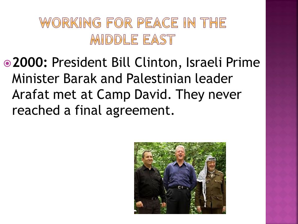 Working for peace in the Middle east