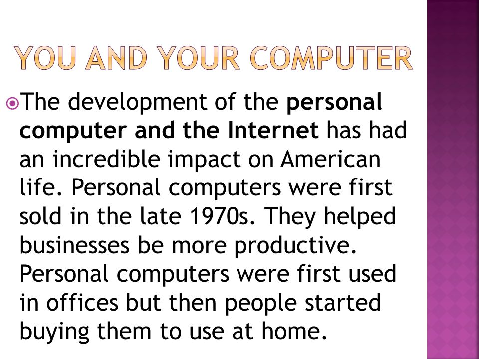You and your computer