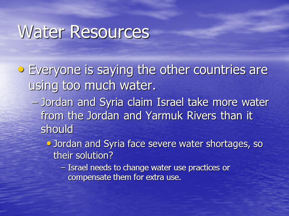 Water Resources Everyone is saying the other countries are using too much water.