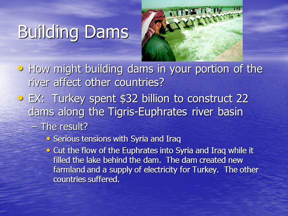 Building Dams How might building dams in your portion of the river affect other countries