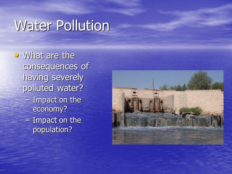 Water Pollution What are the consequences of having severely polluted water Impact on the economy