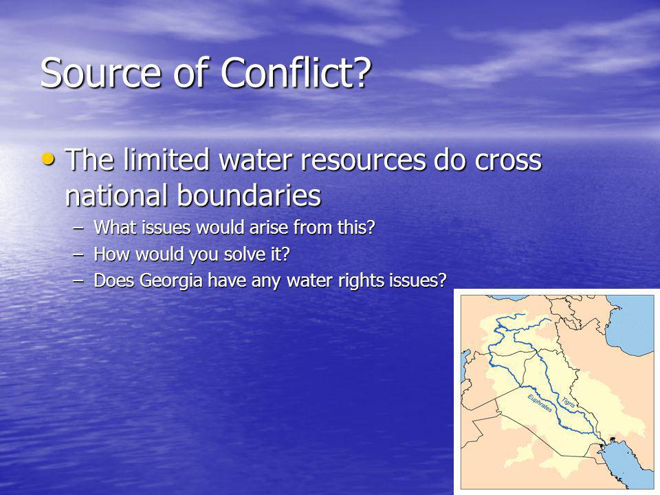 Source of Conflict The limited water resources do cross national boundaries. What issues would arise from this