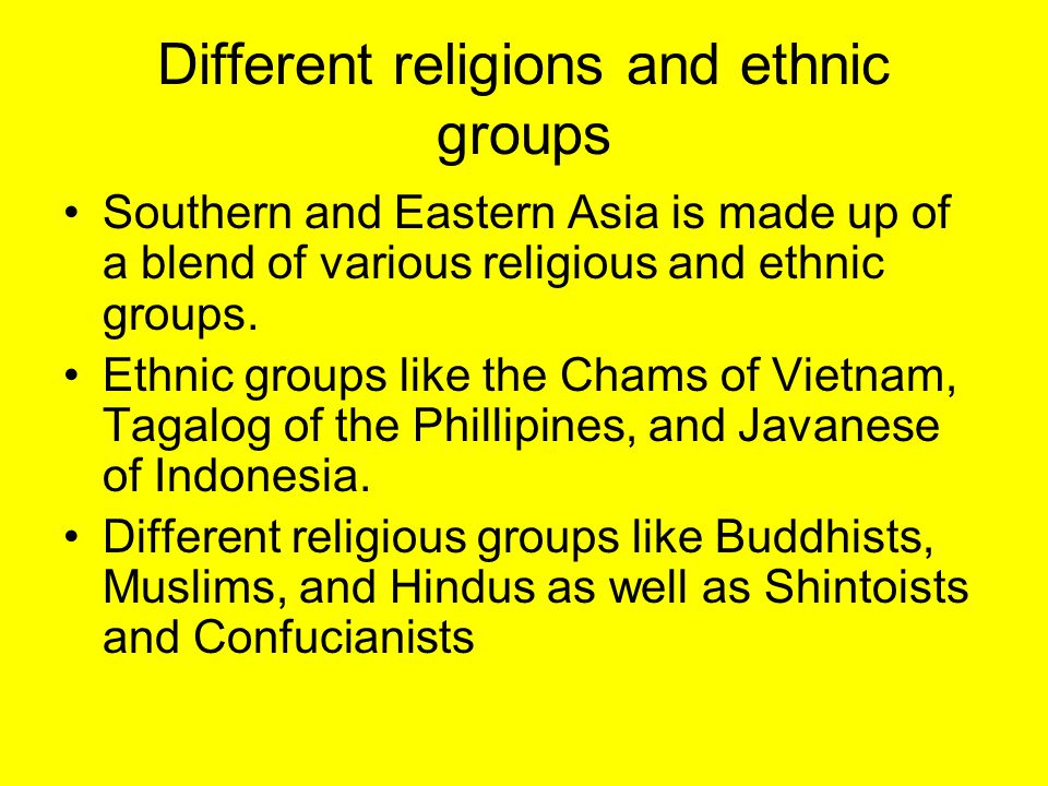 Different religions and ethnic groups