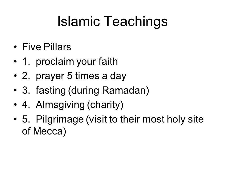 Islamic Teachings Five Pillars 1. proclaim your faith